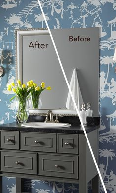 "The addition of a MirrorMate mirror frame adds the final pieces of ""jewelry"" to a beautiful bathroom makeover."