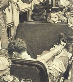 Little Girl Observing Lovers on a Train, Norman Rockwell-1944