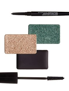 The Camo Eye: Smashbox Always Sharp Waterproof Kohl Liner, $23; Lise Watier Palette Jardin De Givre Eyeshadows and Eyeliner, $45; Revlon Lash Potion Mascara by Grow Luscious, $10.
