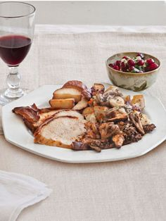 Chef Tim Love's #Thanksgiving menus: Spice-Rubbed Turkey, French-Bread Stuffing, Fried Sugar-Poached New Potatoes, Chile-Spiked Cranberry Relish, and Roasted Wild Mushrooms