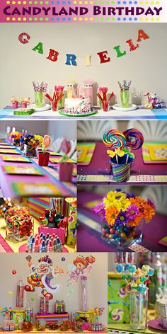 Candy Land-themed birthday party. Marshmallow pops!