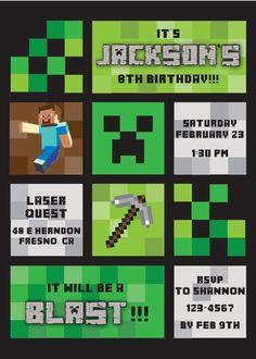 Minecraft Themed Birthday Party Invitation