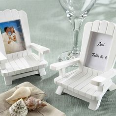 Decorate your beach themed wedding reception tables with 'Beach Memories' Adirondack chair placecard photo frame favors, displaying a picture of the bride and groom or the names of guests to be seated. Sold in sets of 4 miniatur, beach chairs, place card holders, adirondack chairs, frame, place cards, beach weddings, beach wedding favors, beach themes