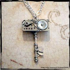 Mechanical Skeleton Key embellished with a vintage Waltham 17 Jewels watch movement.
