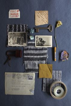 Mood Board - blue grey with vintage objects and mustard