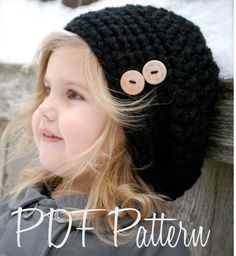 Crochet PATTERN-The Zoie Slouchy (Toddler, Child, and Adult sizes) a     ♪ ♪ ... #inspiration #crochet  #knit #diy GB  http://www.pinterest.com/gigibrazil/boards/