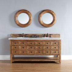 "James Martin 72"" Malibu Double Bathroom Vanity, Solid Wood, 500-V72-HON"