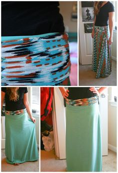 DYI maxi skirt pattern to sew. BUT WAIT THERE'S MORE! It's also reversable! It's two skirts in one. Yippee!