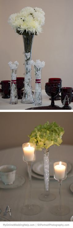 Tall Centerpiece Ideas...the one on the bottom isn't *really* tall, but it can be tall.