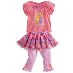 Rapunzel Top and Skirt with Leggings Set for Baby