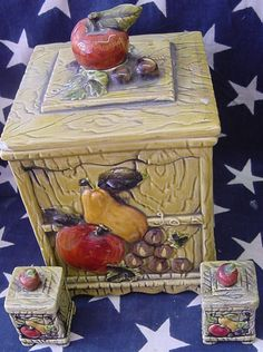 Vintage Lefton fruit cookie jar set