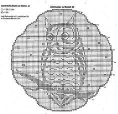Deckchen häkeln Eule - filet crochet owl doily