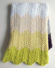 Knitted Chevron Baby Blanket knitting-knitting-knitting