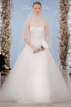 www.oscardelarenta.com, Oscar de la Renta wedding dresses 2014 strapless gown with illusion tulle neckline