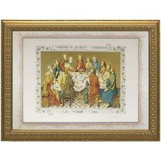 """Souvenir de Premiere Communion (Last Supper Tabestry) w/ Ornate Gold Frame (28x20). A classic piece of art from the Vatican Library collection, this """"Souvenir de Premiere Communion"""" print is a beautiful way for the entire family to celebrate the First Eucharist. #CatholicCompany"""