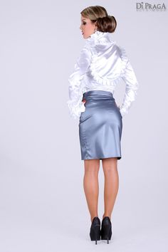 Powder Blue Satin Pencil Skirt White Satin Blouse Stockings and High Heels