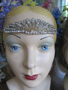 Vintage 20s Flapper Art Deco Rhinestone Tiara. $325.00, via The Littlest Sister, Etsy.