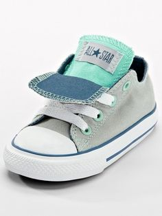 Converse Chuck Taylor All Star Double Tongue Ox Toddler Plimsolls - Grey/Blue baby boy converse, convers chuck, conversechuck taylor, tongu ox, converse for babies, star doubl, toddler boy converse, baby all stars, doubl tongu