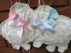 Twin Baby Lamb Burlap Door Hanging with Blue and by nursejeanneg, $34.00