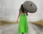 Modern Umbrella Art Rainy Day and Girl in A Neon Dress 8x12 or 8x10 Lucy Snowe Photography. $25.00, via Etsy.