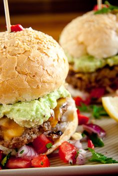 Mexican Burgers with homemade salsa and guacamole....going to do this with bean burgers!