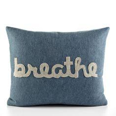 "BREATHE pillow - 14"" x 18"" recycled felt applique pillow - more colors available. $99.00, via Etsy."