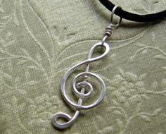 Treble Clef Wire Pendant - nice use of wire technique (inspiration)  *********************************************  Nicholasandfelice via Etsy - #wire #jewelry #crafts #music #treble #clef #pendant - tå√