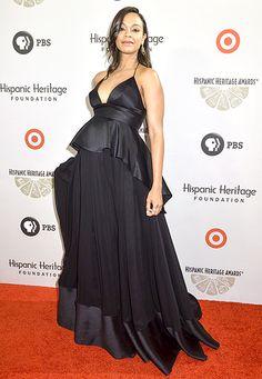 Zoe Saldana wears a black peplum gown at the 2014 Hispanic Heritage Awards