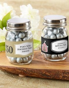 Mini mason jar 50th birthday party favors.  Fill with small candy.