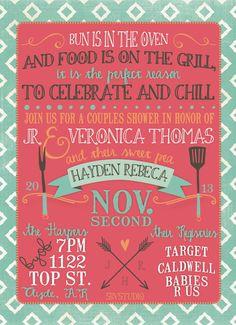 Couples Baby Shower invitation BBQ Modern by southernbellavita, $18.00