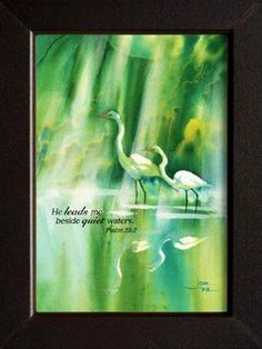 Framed Cranes Art Print by Joni Eareckson Tada