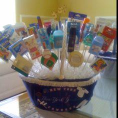 Bathroom basket for Yankees themed Bar Mitzvah.