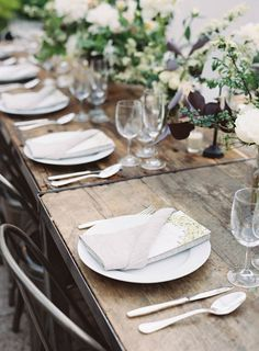 rustic elegant reception, photo by Jen Huang http://ruffledblog.com/intimate-wedding-at-the-foundry-in-brooklyn #tablescapes #weddingreception