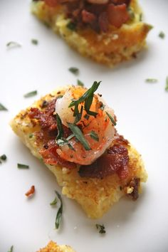 shrimp and bacon grit squares...