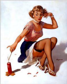 vintag, gilelvgren, firework, art, pinup girl