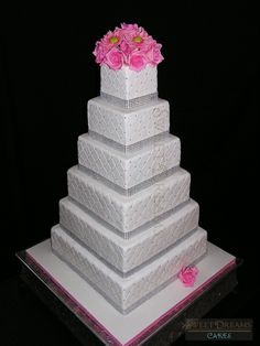 Square bling wedding cake.  By: sdcakes1 (Sweet Dreams Cakes)  http://cakecentral.com/gallery/2351797/square-bling-wedding-cake