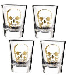 Shop Halloween's Biggest Trend: Skulls - Skull Shot Glasses - $30 (for four); papersource.com #InStyle