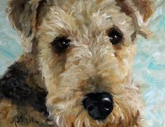 airedale welsh terrier dogs puppy art paintings by mary sparrow smith from hanging the moon, home decor, gift ideas