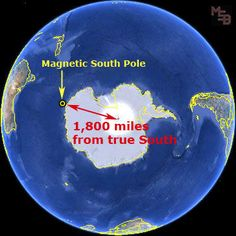 Interesting to note that both the north and south magnetic poles are favoring one side of the earth - the south pole is heavily favoring one side, and continues to move further away from true south.