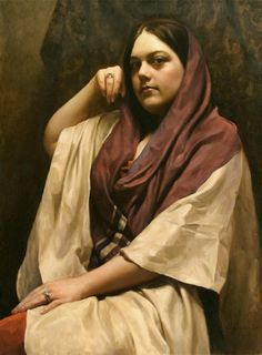 """""""Amy"""" - Benjamin Wu, oil on panel {contemporary figurative artist brunette female scarf seated woman painting}"""