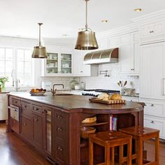 Wood Kitchen Countertop. Love the large island.  So many possibilities.  I don't mind the white on white, either.