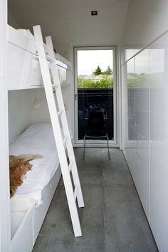 small space white bunk room