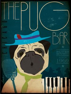 Pug Blues Bar original graphic illustration on canvas 18 x 24 x 1.5 by Stephen Fowler. $180.00, via Etsy.