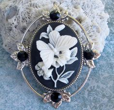 Cameo Brooch or Pendant Butterfly with Jet Crystal by Hurstjewelry.