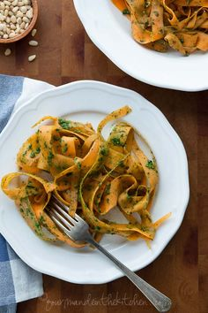 Sweet Potato Noodles with Pesto Recipe on gourmandeinthekitchen.com  @Sylvie Walerysiak | Gourmande in the Kitchen