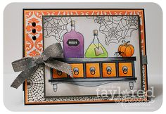 halloween craft, halloween cards, karengiron, halloween apothecari, fall card, paper crafts, ador halloween