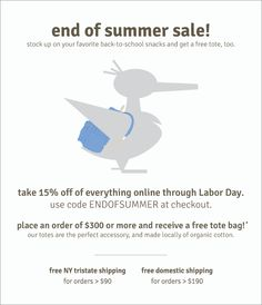 Hooray! Take 15% off site wide, plus get a free tote when you spend $300 or more! Use code ENDOFSUMMER at checkout.