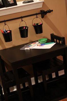 kid playroom, curtain rods, kid art, art table, rec room, bathroom designs, craft tables, art supplies, design bathroom