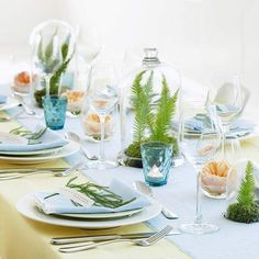springtime table setting, fern centerpiece with bell jars