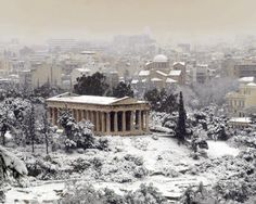Snowy Athens, a rare thing. Greece. In the six winters there this happened only once. Everyone went a little crazy -- my cousins decided we all had to go hiking up a mountain!